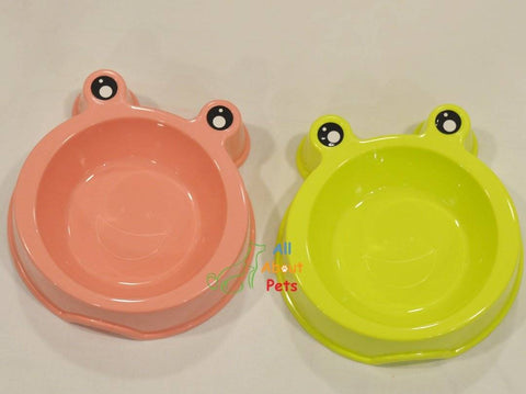 Image of Pet Feeding Bowl Frog Faced peach color, cat feeding bowl green color available at allaboutpets.pk in pakistan.