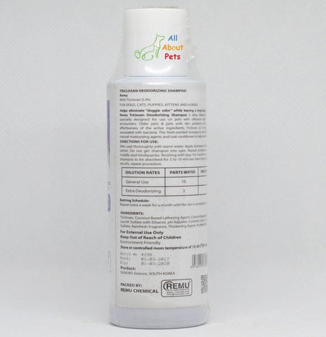 Remu Triclo Deodorizer Shampoo For Cats, Persian cat shampoo available online at allaboutpets.pk in pakistan.