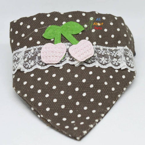 Cat Collar Scarf with lace and embroidered cherry available online at allaboutpets.pk in pakistan.