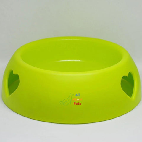 plastic Pet Feeding Bowl Small hearts for cats and dogs green color available at allaboutpets.pk in pakistan.