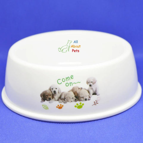 Image of Pet Feeding Bowl Round for cats and dogs with animal print available at allaboutpets.pk in pakistan.