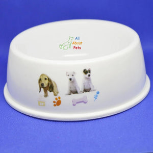 Pet Feeding Bowl Round for cats and dogs with animal print available at allaboutpets.pk in pakistan.