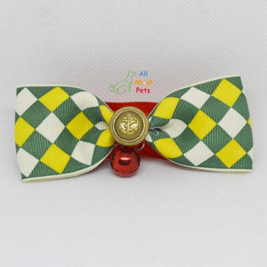 Bow Tie Collar For pets yellow, white and green checked available online at allaboutpets.pk in pakistan.