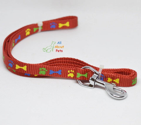 Image of Nylon Leash Paw & Bone Print 4ft for cat and dogs red color available at allaboutpets.pk in pakistan.
