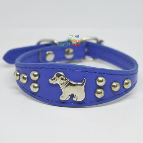 Image of Dog Shape Studded Leather Collars, puppy collar blue available at allaboutpets.pk in pakistan.