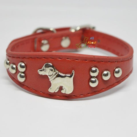 Image of Dog Shape Studded Leather Collars, puppy collar red available at allaboutpets.pk in pakistan.