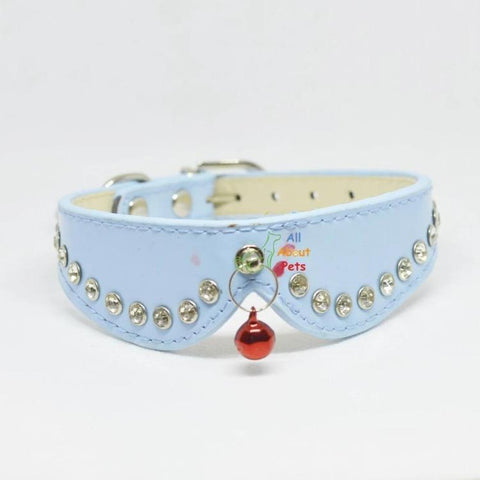 Cat collar with studded crystals and tassels for cats and small dogs sky blue color. available at allaboutpets.pk in pakistan