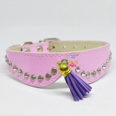 Image of Stylish Pets collars with studded crystals and tassels for cats and small dogs pink color. available at allaboutpets.pk in pakistan