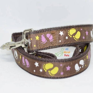 Dog Leash Stars & Footprints 5ft long brown color available at allaboutpets.pk in pakistan