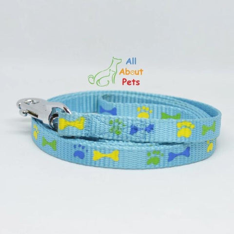 Image of Nylon Leash Paw & Bone Print 4ft for cat and dogs sky blue color available at allaboutpets.pk in pakistan.
