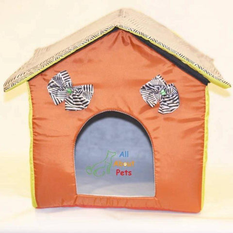 Image of Beautiful Soft Cat cave, soft cat bed, orange color cat house available at allaboutpets.pk in pakistan.