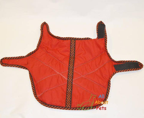 Image of Cat Coat Water Proof Wind Breaker, red color with soft warm padding available at allaboutpets.pk