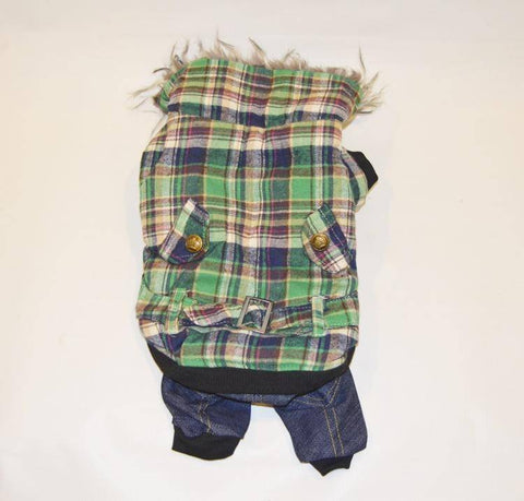 toy Dog Green Checkered Snowsuit with Fleece,Puppy Hoodie Warm Hooded Jumpsuit available at allaboutpets.pk in pakistan