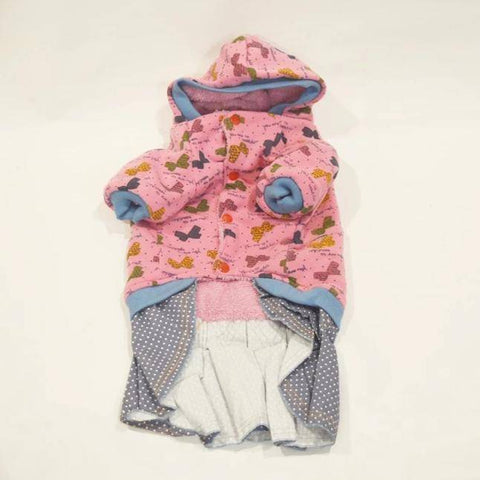 Cat Hooded Shirts With butterfly print Skirts Dress pink color available at allaboutpets.pk in pakistan