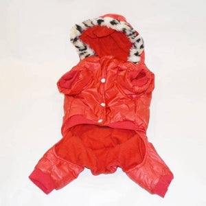 Small Dog winter Clothes Airman Fleece Winter Coat Hooded Jumpsuit Waterproof All Cover Bodysuit available at allaboutpets.pk in pakistan