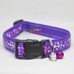 Purple Color Nylon Collar bone print For Dogs - Bone & Paw Print available at allaboutpets.pk in pakistan