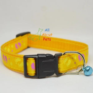 Yellwo Color Nylon Collar paw print For Dogs - Bone & Paw Print available at allaboutpets.pk in pakistan