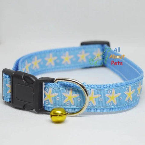 Image of sky blue Color Nylon Collar star print For Dogs - Bone & Paw Print available at allaboutpets.pk in pakistan