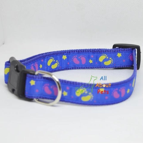 Image of blue Color Nylon Collar paw print For Dogs - Bone & Paw Print available at allaboutpets.pk in pakistan