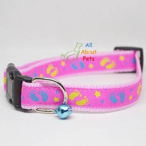 Pink Color Nylon Collar paw print For Dogs - Bone & Paw Print available at allaboutpets.pk in pakistan