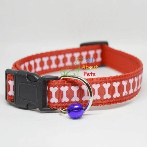 Image of red Color Nylon Collar bone print For Dogs - Bone & Paw Print available at allaboutpets.pk in pakistan