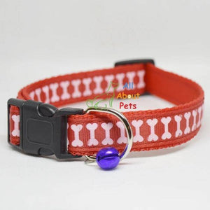 red Color Nylon Collar bone print For Dogs - Bone & Paw Print available at allaboutpets.pk in pakistan