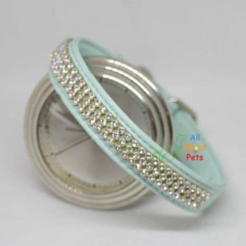 Image of Soft leather Dog collar & leash turquoise color bling diamante available at allaboutpets.pk in pakistan