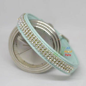 Soft leather Dog collar & leash turquoise color bling diamante available at allaboutpets.pk in pakistan