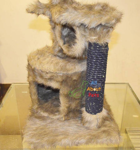 Luxury cat jute rope scratch post covered with plush fur,cat  caves available online at allaboutpets.pk in pakistan