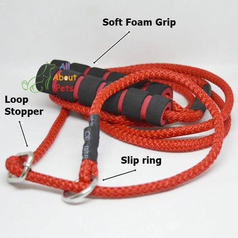 "Image of Labrador Slip Leash red color 5mm with grip - 58"", grip handle, pug show leash, shihtzu show leash, small dog show leash available at allaboutpets.pk in pakistan."
