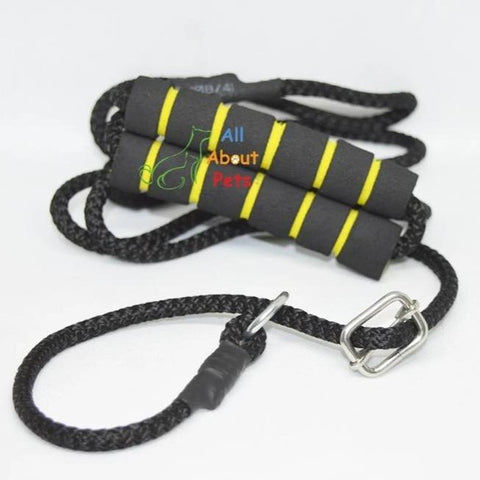 "Image of Labrador Slip Leash black color 5mm with grip - 58"", grip handle, pug show leash, shihtzu show leash, small dog show leash available at allaboutpets.pk in pakistan."
