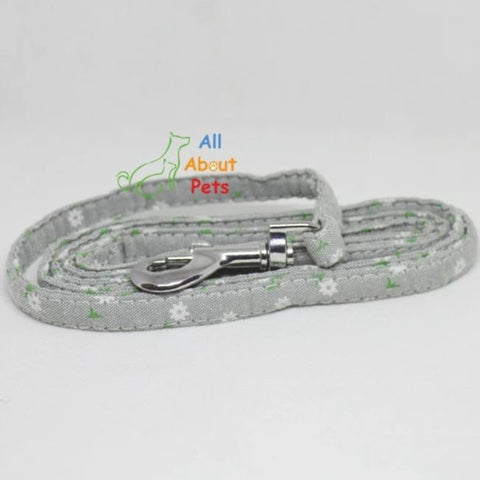 Image of Fabric Dog Leash grey color daisy Flower Print, pug show leash, shihtzu who leash, toy breed show leash available at allaboutpets.pk in pakistan