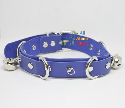Image of blue leather studded dog collar With Bells available at allaboutpets.pk in pakistan