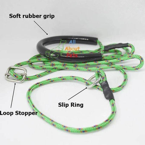 "Labrador Slip Leash green color 3mm with grip - 58"", grip handle, pug show leash, shihtzu show leash, small dog show leash available at allaboutpets.pk in pakistan."