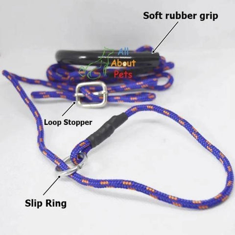 "Image of Labrador Slip Leash blue color 3mm with grip - 58"", grip handle, pug show leash, shihtzu show leash, small dog show leash available at allaboutpets.pk in pakistan."