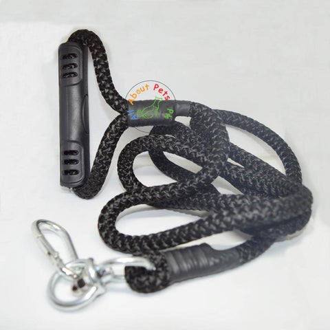 "Dog nylon Leash Rope 12mm with grip 58"", nylon dog leash black color with handle available at allaboutpets.pk in pakistan."