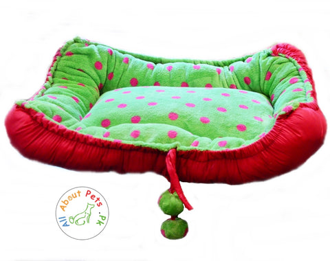 Comfy Cat bed, Dog Bed green and red polka dots plush pillow available at allaboutpets.pk in pakistan