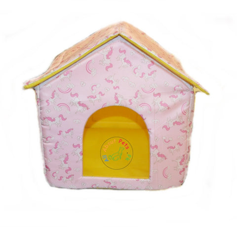 Image of Beautiful Soft Cat House With pink unicorns & rainbow print, soft cat bed available at allaboutpets.pk in pakistan.