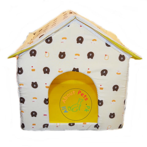 Image of Beautiful Soft Cat House With bears and cup cake  print, soft cat bed available at allaboutpets.pk in pakistan.