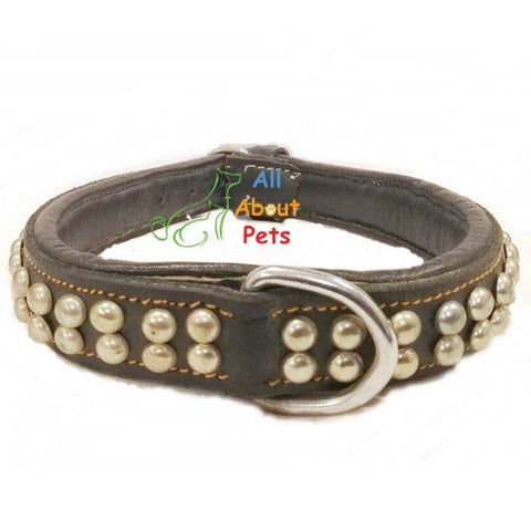 Image of Designer Leather Collar Round Studded Double Row, dog leather collar, black studded collar available at allaboutpets.pk  in pakistan.