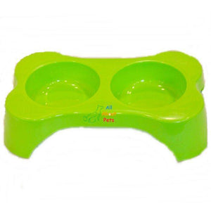 Dog Bone Shape Double Bowl, cat feeding bowl, dog feeding bowl, green pet feeding bowl available at allaboutpets.pk in pakistan.