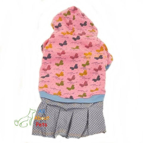 Dog Apparel Hooded Shirts With butterfly print pink color available online at allaboutpets.pk in pakistan