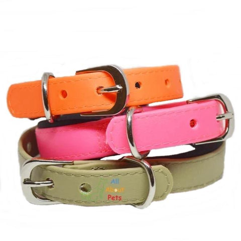 Strong PU Collar in fluorescent pink color, fluorescent orange color & beige color with soft padding available online at allaboutpets.pk in pakistan