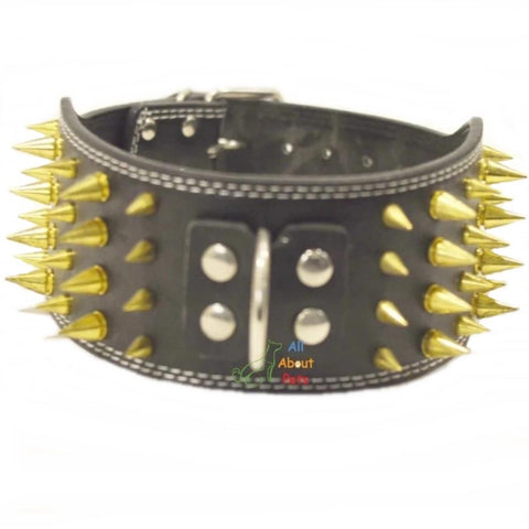 Image of Dog Collar Spiked Black 3 Inch Wide, dog leather collar, black leather dog collar available at allaboutpets.pk in pakistan.