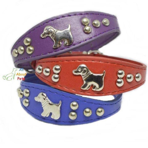 Image of Dog Shape Studded Leather Collars, puppy collar red, puppy collar blue, puppy collar purple available online at allaboutpets.pk in pakistan.