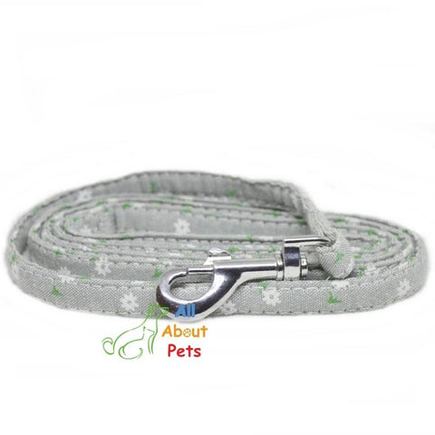 Image of grey Fabric Dog Leash With Flower Print, pug show leash, shihtzu who leash, toy breed show leash available at allaboutpets.pk in pakistan