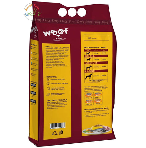 Woof Dog Food Be Happy Pet 3kg, product of seasons, menu dog food available at allaboutpets.pk in pakistan.