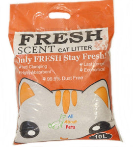 Fresh Scent Cat Litter 10L, 99.9% Dust Free Hard Clumping Last Longer Highly Absorbent Economical available at allaboutpets.pk in pakistan.