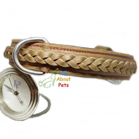 Genuine Leather Braided Collar For Dogs brown color available at allaboutpets.pk in pakistan.