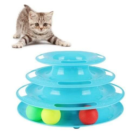 Image of Cat Toy 3-level Tower of Tracks interactive toy blue color available in pakistan at allaboutpets.pk
